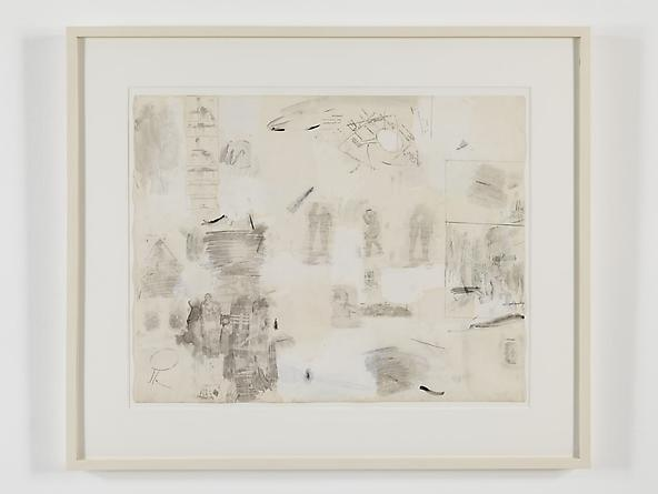 radio amnesia pt 2: a survey of works on paper 1997-2013 Robert Rauschenberg Complete Relaxation, 1958 Solvent transfer on Strathmore paper with gouache, wash, watercolor, black crayon & pencil 22 3/4 x 28 1/4 inches