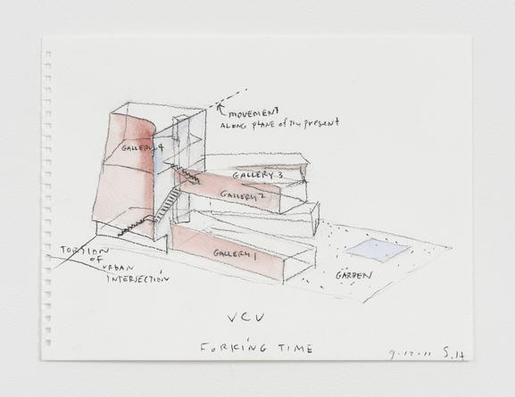 STEVEN HOLL Design Sketch for Institute of Contemporary Art at Virginia Commonwealth University, 2011 Watercolor & charcoal on paper 9 x 12 inches Framed: 13 1/4 x 16 1/4 inches SGI3102