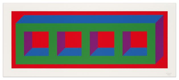 SOL LEWITT Four Color Isometric Figure-A (Green, Blue, Purple, Red), 2002 Linocut 10 1/4 x 25 3/8 inches Framed: 14 1/2 x 28 inches #49/60 SGI3038