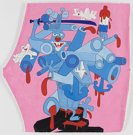 Red White and Blue and Pink, 2008 Gouache & graphite on paper 45 x 44 1/2 inches SGI1474