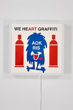 We Heart Graffiti, 2011 Vinyl, Plexiglas, wood, metal, light fixtures 25 x 25 3/4 x 5 1/2 inches SGI2112