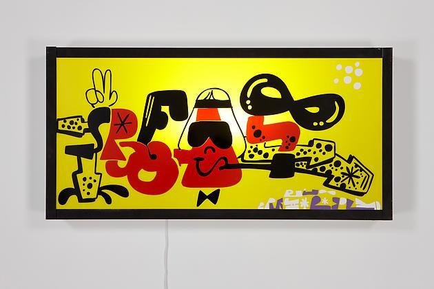 Reas (Red, Black & Yellow), 2011 Vinyl, Plexiglas, wood, metal, light fixtures 25 x 49 1/2 x 5 1/2 inches SGI2113