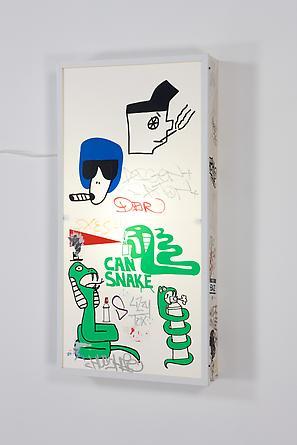 Can Snake, 2011 Vinyl, Plexiglas, wood, metal, light fixtures 50 x 25 x 5 1/2 inches SGI2114