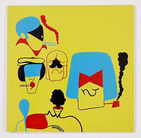B-Boy Heads (Yellow), 2011 Vinyl on aluminum 48 x 48 inches SGI2117