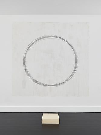 TOM MARIONI Out of Body Free Hand Circle, 2000/2014 Graphite on prepared wall, wood 84 x 84 inches