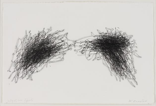 WILLIAM ANASTASI Untitled (July 25, 2010 Laporte), 2010 Ink & graphite on paper 7 1/2 x 11 1/4 inches Framed: 14 3/4 x 18 1/2 inches SGI1568