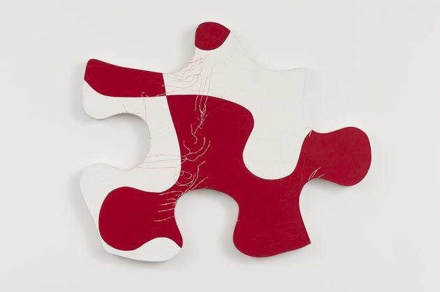 Puzzle, 1984 Acrylic on canvas on wood 32 x 39 x 1 3/4 inches SGI3063