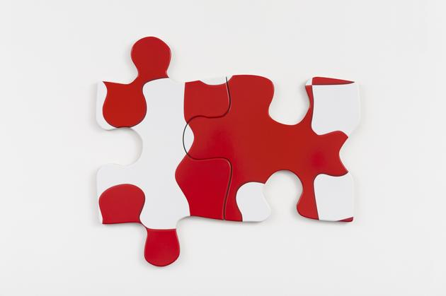 Puzzle Puzzle, 2015 Printed vinyl laminate mounted on MDF, in two parts 34 1/2 x 40 x 1 inches overall SGI3069