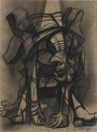 RICO LEBRUN Sleeping Soldier 1949 India ink & charcoal on paper 24 ¾ x 18 ½ in