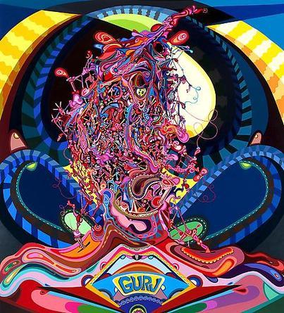 Erik Parker Guru, 2008-09 Acrylic on canvas 90 x 90 x 3 inches