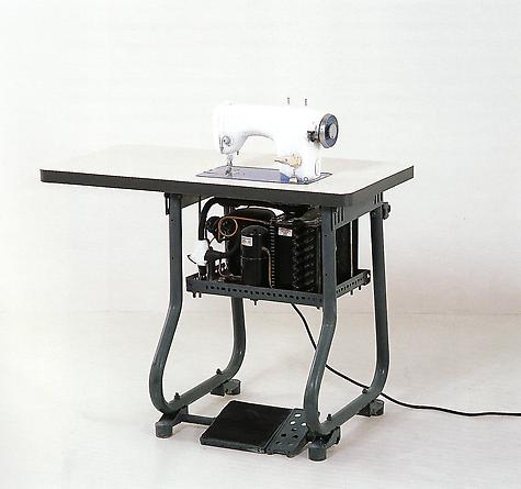 Blue and Cream (dream), 2001 Sewing machine, refrigeration unit, steel, wood, formica 41 1/4 x 41 1/4 x 20 inches
