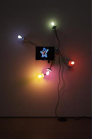 MATTHEW McCASLIN Happy Daze 2009 Conduit, electrical hardware, 5 porcelain sockets, 5 colored light bulbs, 5 blinkers, 15