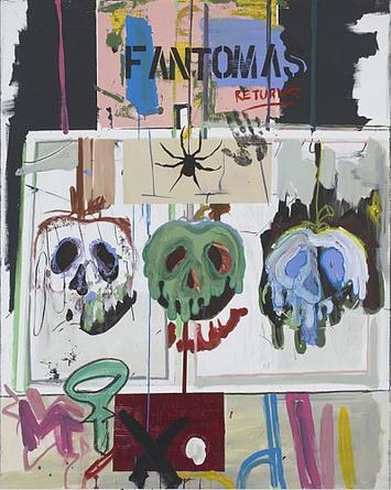 michael bevilacqua Fantomas Returns 2007 acrylic on canvas 60 x 48 x 1 1/2 inches unique