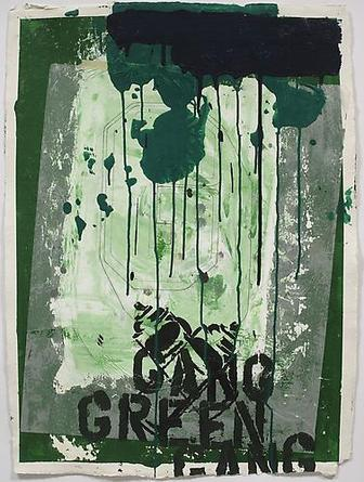 Gang Green Logo 2008 Acrylic and mixed media collage on paper 30 ½ x 22 ½ in