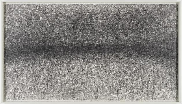 One Hour Blind Drawing 2008 Graphite on paper 59 3/4 x 108 inches 63 x 111 1/4 inches (framed)