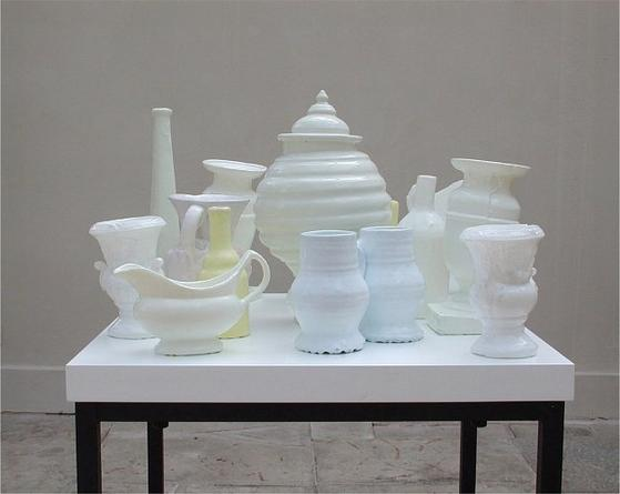 Bric-a-brac for Artists, 2005 Earthenware, silicone rubber, MDF, metal 42 x 24 x 24 inches