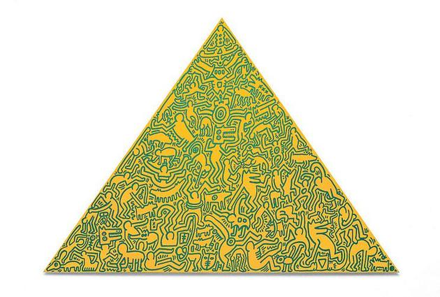 Keith Haring Pyramid, 1989 Painted anodized aluminum 41 x 56 1/2 x 1 inches Edition of 30