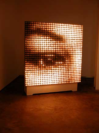 L'Oeil (The Eye)  2001 Light bulbs, aluminum, electronic device and electrical hardware 74 ½ x 59 x 20 inches Unique