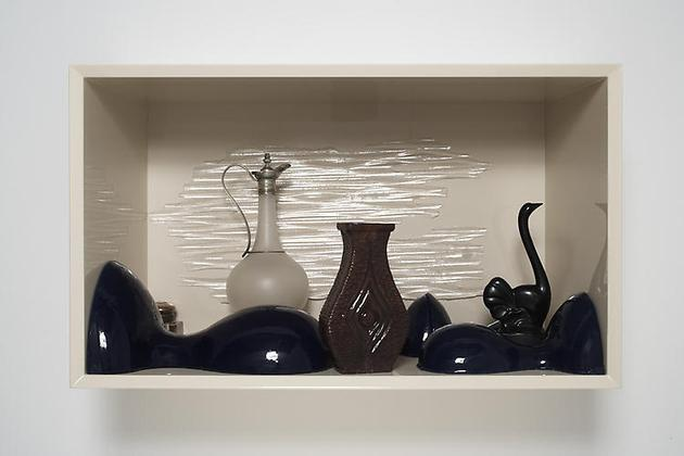 Winter Moderns 2008 Wood, lacquer, French decanter, glass & bronze inkwell, silicone rubber, resin 18 1/2 x 31 1/2 x 13 3/4 in