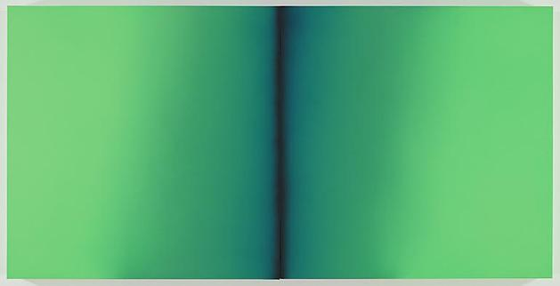 Green Deneb 2009 Acrylic on linen 39 x 78 3/4 x 3 inches