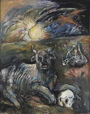 MIRIAM BEERMAN The Plagues (Cattle Disease) 1985 Oil on canvas 56 x 63 in