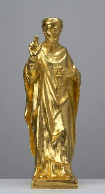 CHRISTIAN LEMMERZ	 The Prophet  (Bin Laden)  2005 Bronze with gold leaf   35 x 6 x 4 inches Edition of 6