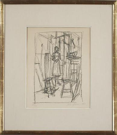 ALBERTO GIACOMETTI Annette dans l'Atelier 1956 Lithograph 28 x 24 ½ in
