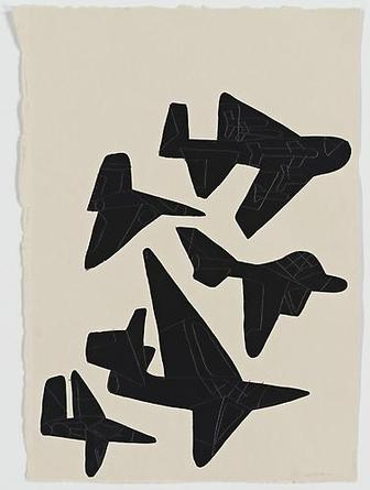 5 Black Jets 2009 Gouache & graphite on paper 22 x 15 1/2 inches