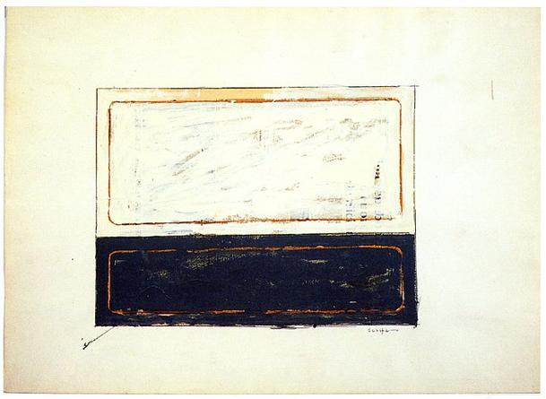 MARIO SCHIFANO Untitled, 1961 Enamel on paper 27 ½ x 39 3/8 inches Unique