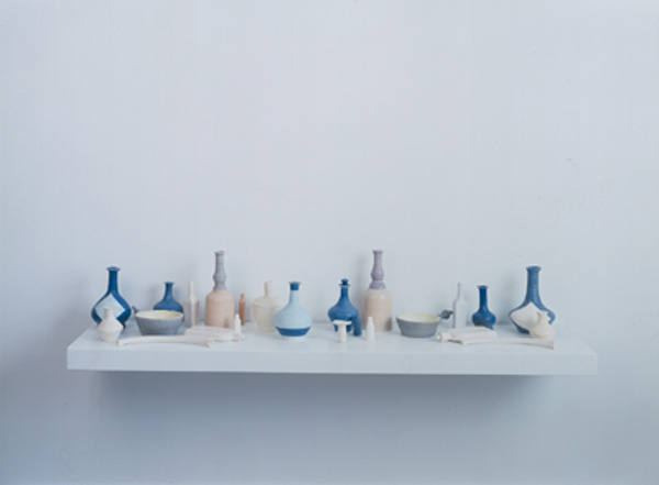 Bone Dry, Powdery Blue, 2001 Porcelain, formica, MDF 7 x 43 1/4 x 10 1/4 inches