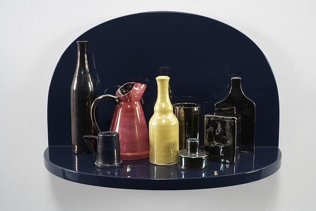 Rose & All the Crown Jewels, 2001 Ceramic, lacquered wood shelf 10 x 14 x 9 inches GLG228