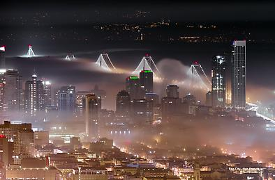 Leo Villareal LED-Decked Bay Bridge In The Fog