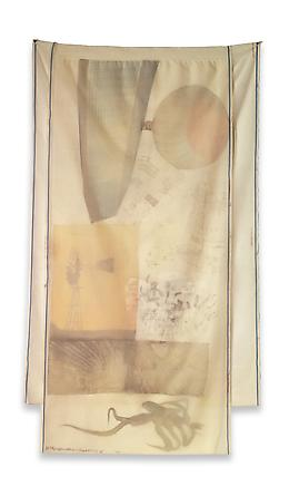 ROBERT RAUSCHENBERG Scent, 1974 Transfer/collage on fabric 86 x 50 inches