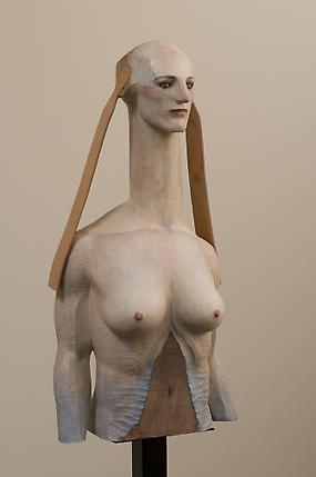 <i>Sphinx Talking with Forest</i>, 2008 Painted camphor wood, marble and leather 41.54 x 20.47 x 12.6 inches (105.5 x 52 x 32 cm Private Collection