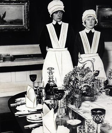 Parlourmaid and Underparlourmaid Ready to Serve Dinner, Mayfair, 1936