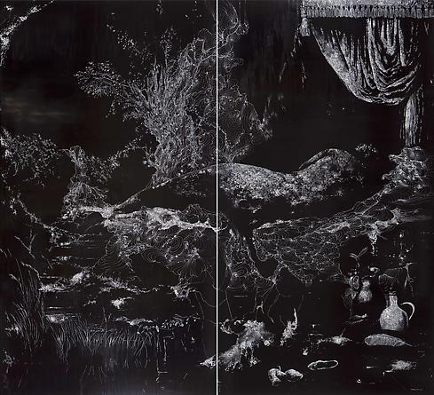 Waterfall, 2011 Two unique hand-painted chromogenics print with mixed media [diptych], 75 7/8 x 83 inches (192.7 x 210.8 cm) overall