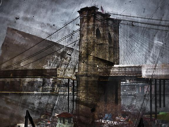 Tent-Camera Image on Ground: Rooftop View of the Brooklyn Bridge, Brooklyn Side, 2011