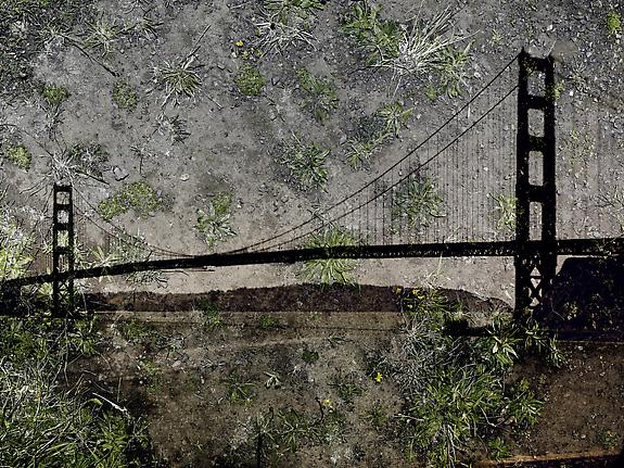 Tent-Camera Image on Ground: View of the Golden Gate Bridge from Battery Yates, 2012