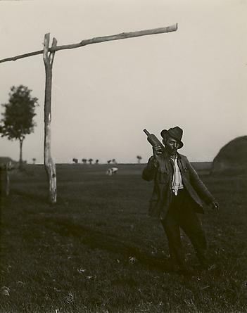 Drunken farmer, Hortobagy Plain, Hungary, 1993