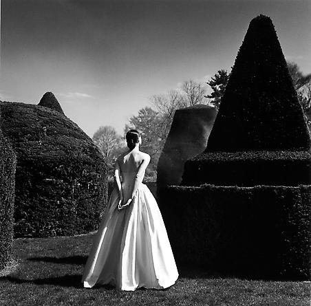 Bernadette in white dress from behind, Longwood Gardens, 1997