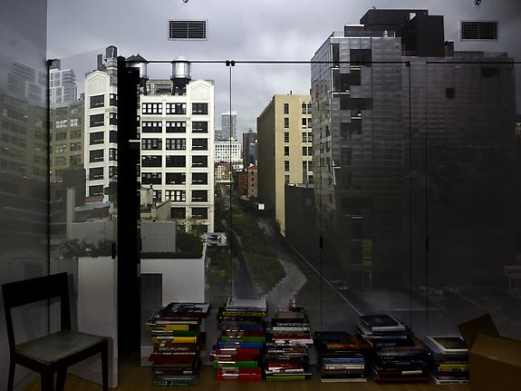 Camera Obscura: View of the High Line from 23rd Street Looking North in Room with Books, 2011
