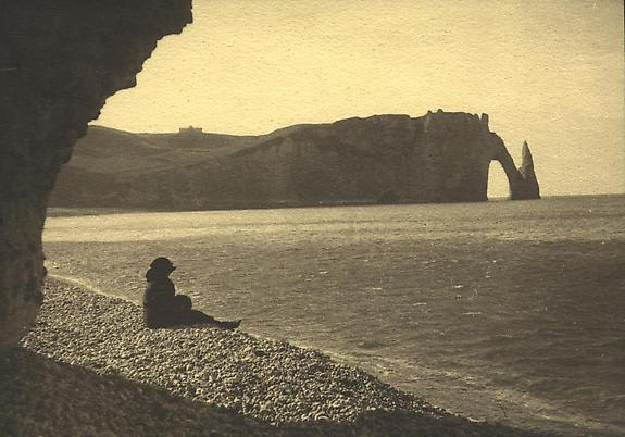 My Wife Bibi Sitting on the Pebble Beach, Etretat, 1920 [#30]