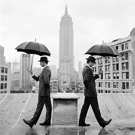Reed and Nathan with Umbrellas on Rooftop, New York, NY 2011