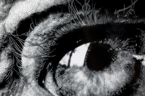 Eye #08 (detail), 2012 Unique hand-painted gelatin silver enlargement print with mixed media, 43 7/8 x 40 1/16 inches.