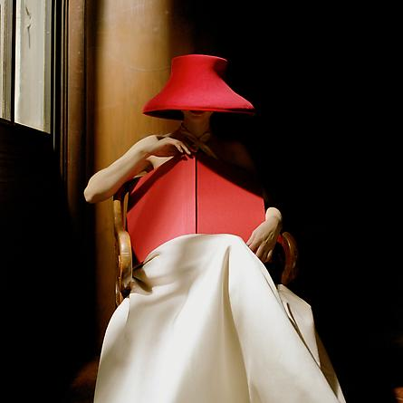 Woman in Red Hat with Book, New York Public Library, NYC, 2003