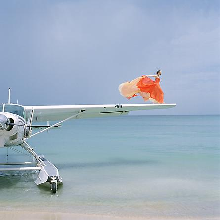 Saori on Sea Plane Wing, Dominican Republic, 2010