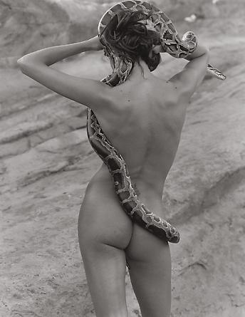 Frankie Rayder with Snake 2, Vasquez Rocks, 2000