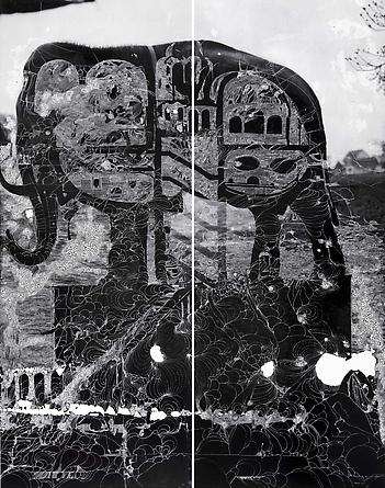 Room in the Elephant (after Alavoine), 2011 Two unique hand-painted chromogenic prints with mixed media [diptych], 79 1/2 x 61 1/2 inches (201.9 x 156.4 cm) overall