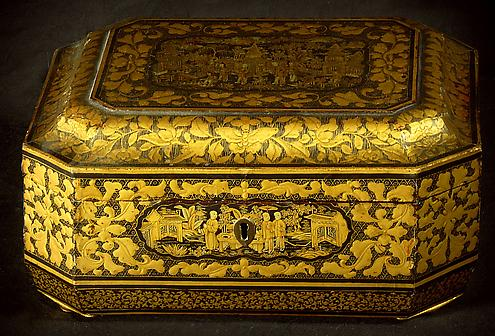 A Chinese Export Black And Gold Lacquer Sewing Box Hyde