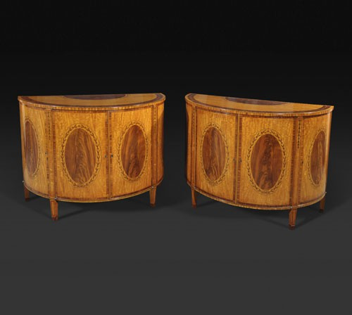 An Important Pair Of George Iii Satinwood And Marquetry Demi Lune